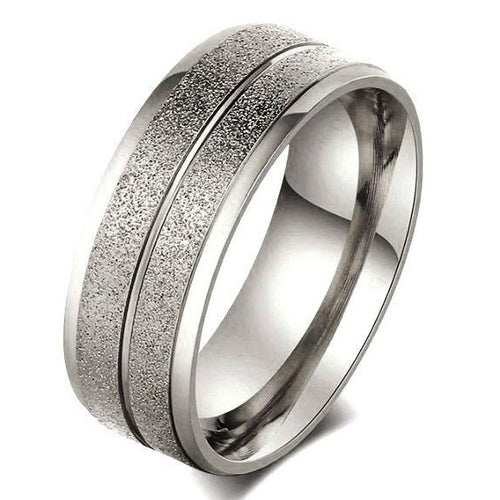 Authentic Stainless Steel Sandblast Wedding Ring Band - Size 7|N+