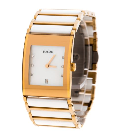 d5322c481 Rado White Mother of Pearl Gold Plated Steel Ceramic Integral Jubile  R20791901 Women's Wristwatch 23 mm