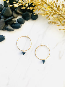 Moon Collection Black Howlite Hoops
