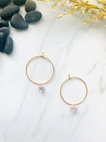 Moon Collection Rose Howlite Hoops