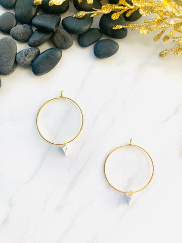 Moon Collection White Howlite Hoops