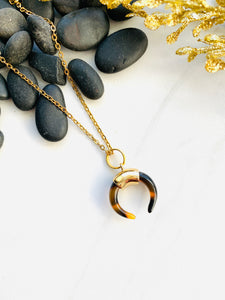 Moon Collection Leopard Ox Horn Pendant Necklace