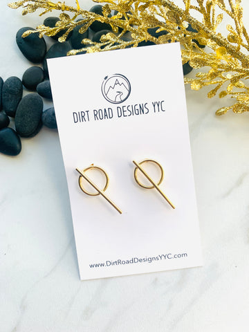 Moon Collection Gold Cross Circle Studs