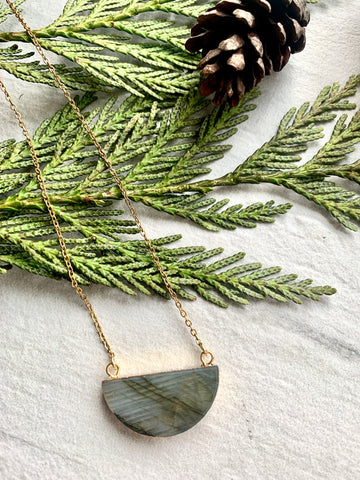 Pine Collection Gold Labradorite Half Moon Necklace