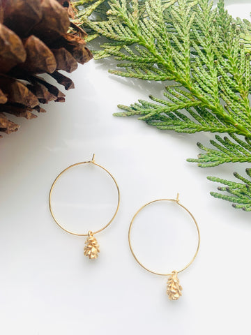 Pine Collection Golden Pinecone Hoops