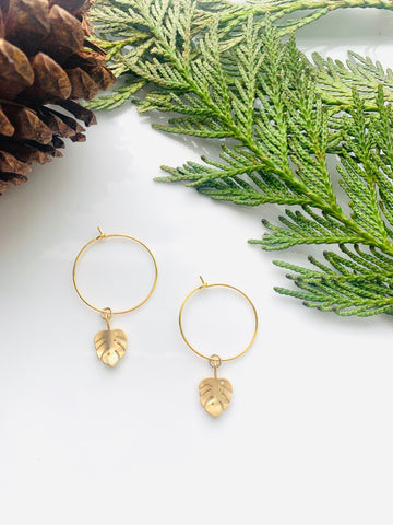 Pine Collection Golden Leaf Hoops