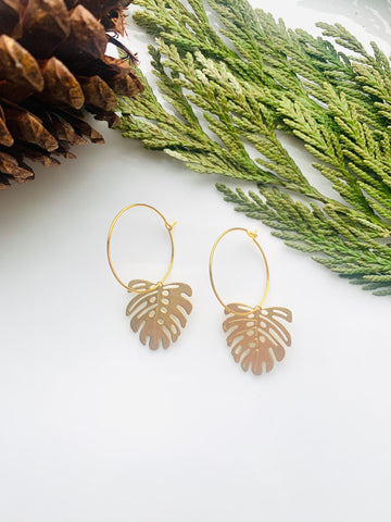 Pine Collection Golden Monstera Leaf Hoops