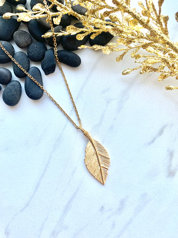 Moon Collection Golden Leaf Layering Necklace