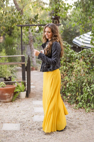 Leather Moto Biker Jacket Yellow Maxi Skirt Retro Fashion