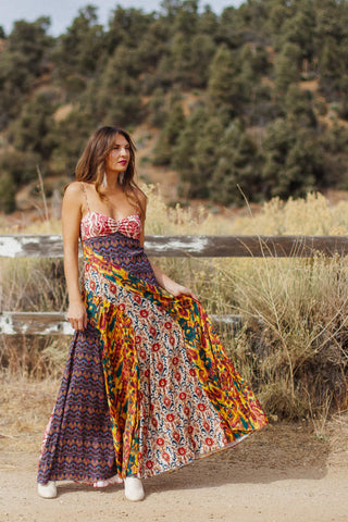 Patchwork Maxi Dress Patterned Dress Bohemian Outfit Ideas