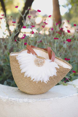 Flower Embellishment Woven Bucket Bag