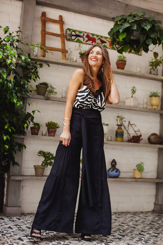 Zebra Print Tank Lace Camisole Black Wide Leg Trouser Pants