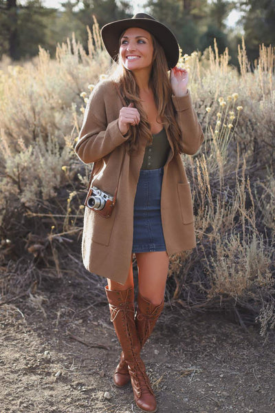 long brown cardigan women