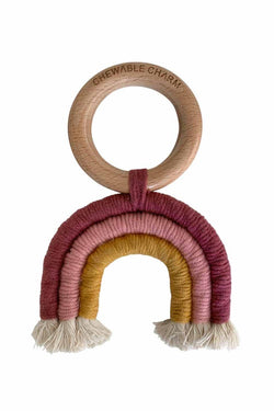 Rainbow Macrame Teether - Berry + Mustard