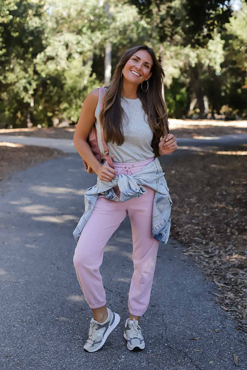 just chill sweats in pink