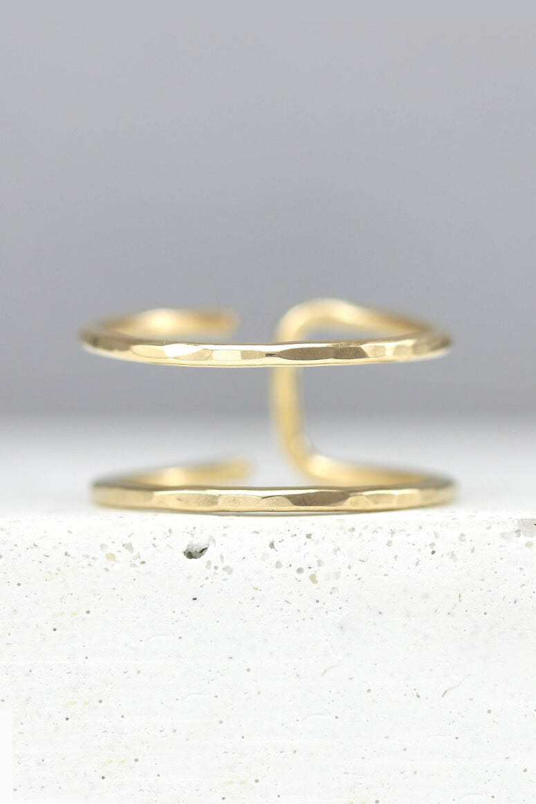 gold double band toe ring