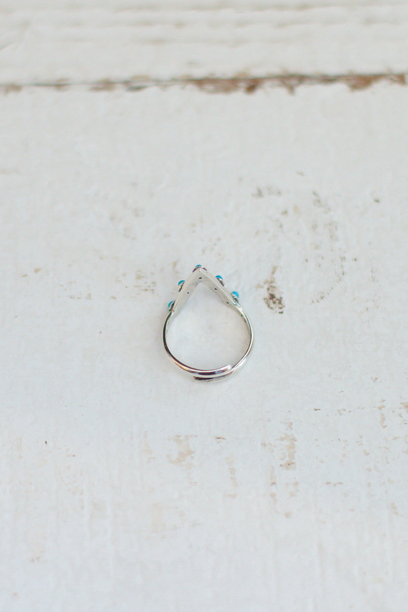 turquoise and silver adjustable stone ring