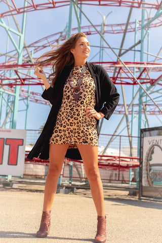 leopard print. body con mini dress