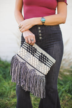 Striped Knot Clutch