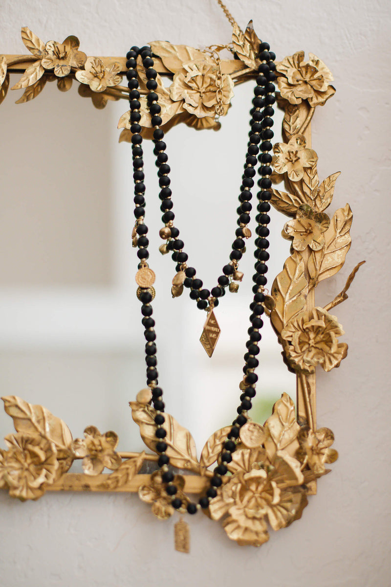 Matte Black and Gold Beaded Double Strand Necklace
