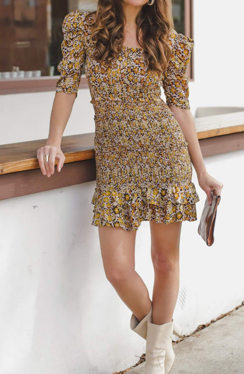 Smocked floral mini dress