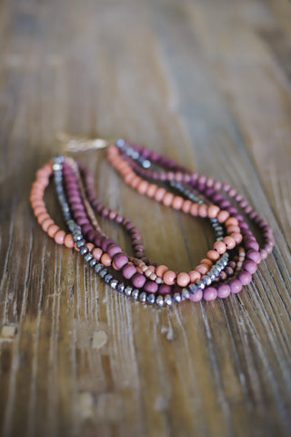 Layered Beaded Multi Strand Necklace