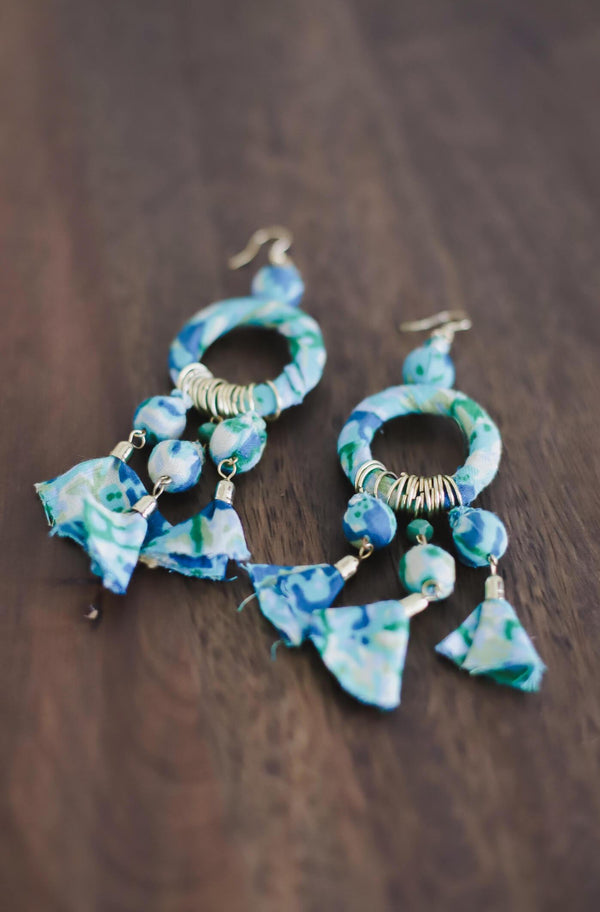 Fabric Wrapped Dangle Statement Earrings