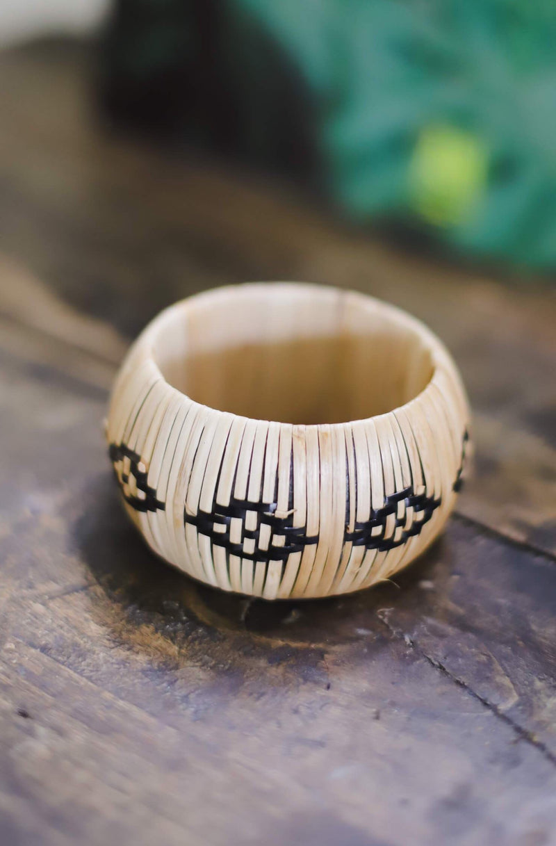 Tribal Design Woven Straw Bracelet
