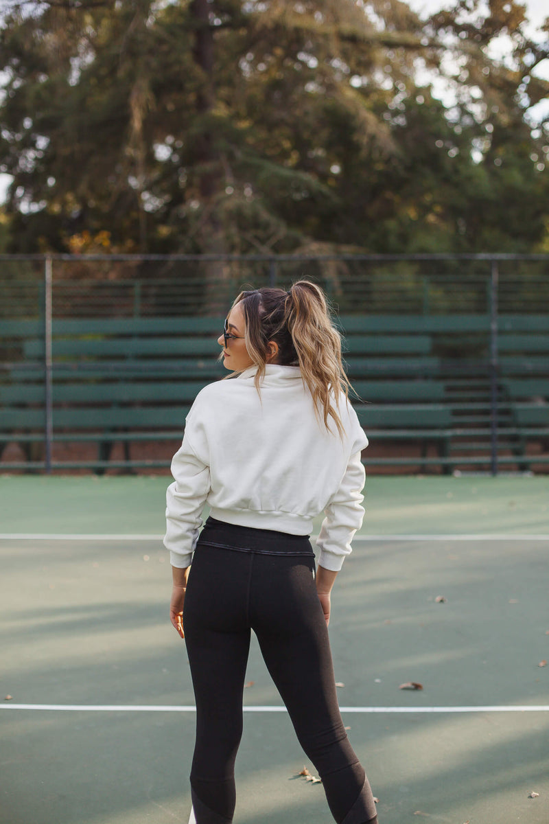 Cropped quarter zip pullover in white