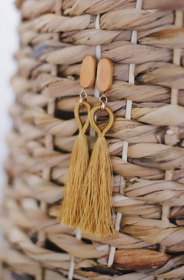 Yellow Tassel Drop Earrings