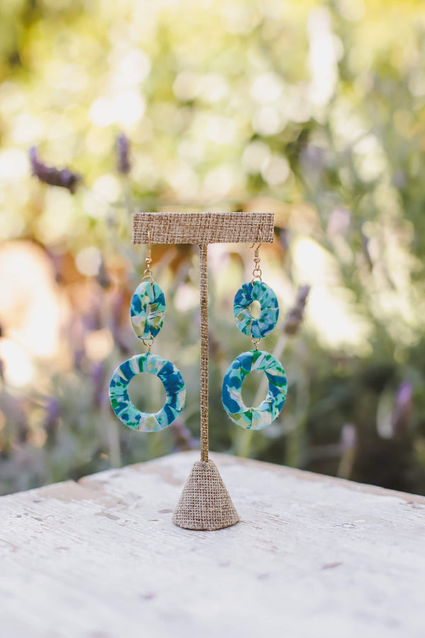 Fabric Wrapped Drop Earrings