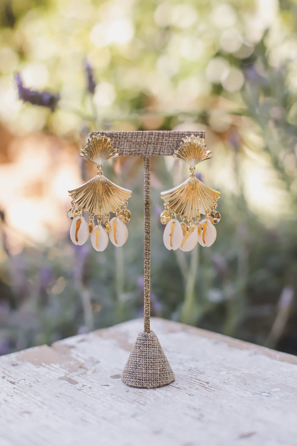 Gold seashell statement earrings
