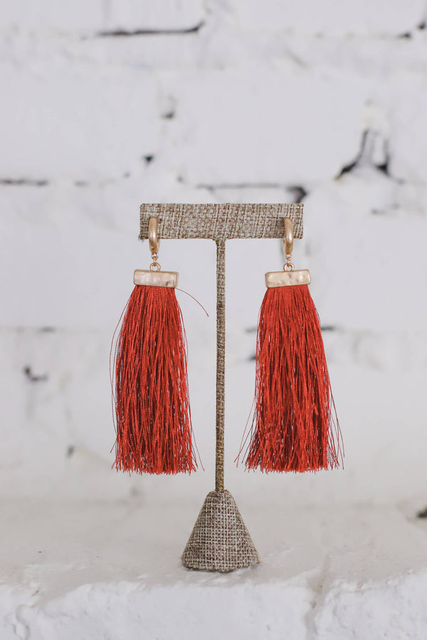 Red Fringe Tassel Earrings