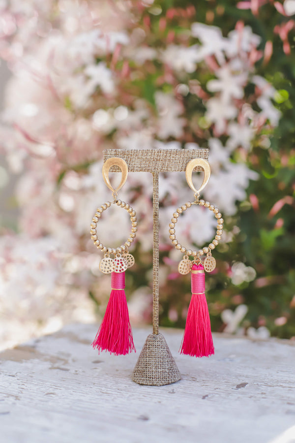 Pink Tassel Drop Earrings