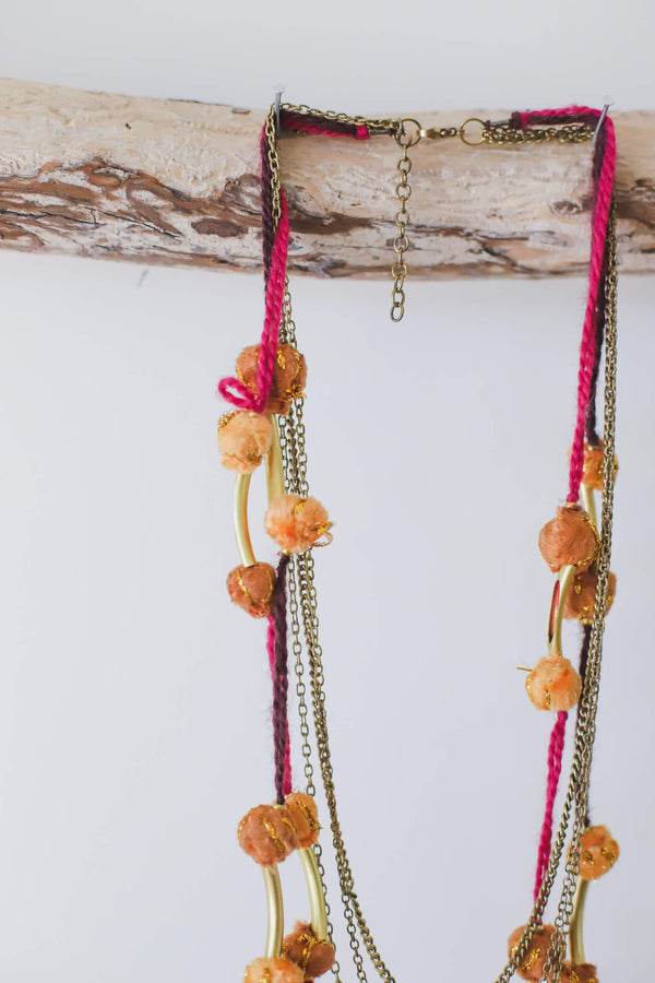 Multistrand Pom Pom Necklace