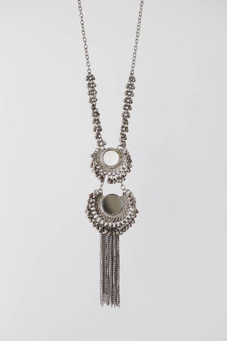 Silver Medallion Long Necklace