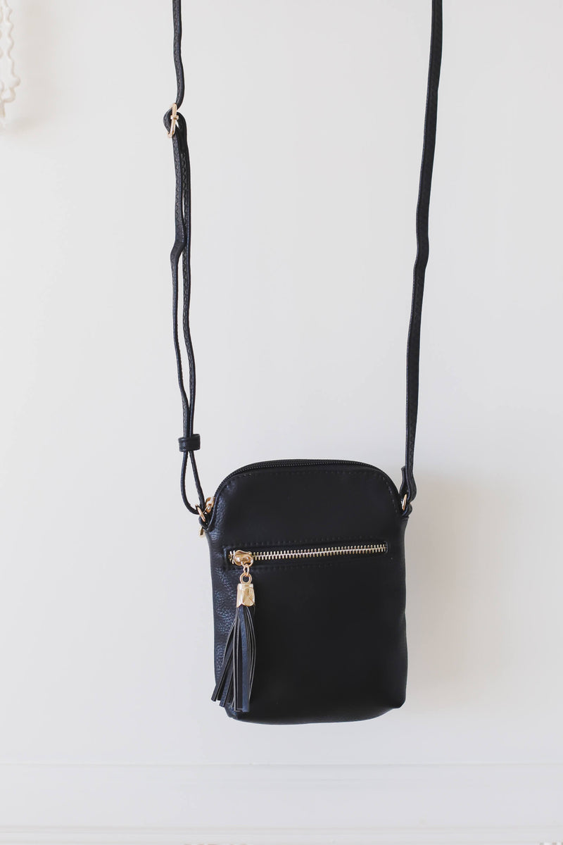 Black Crossbody Bag with Tassel Zipper