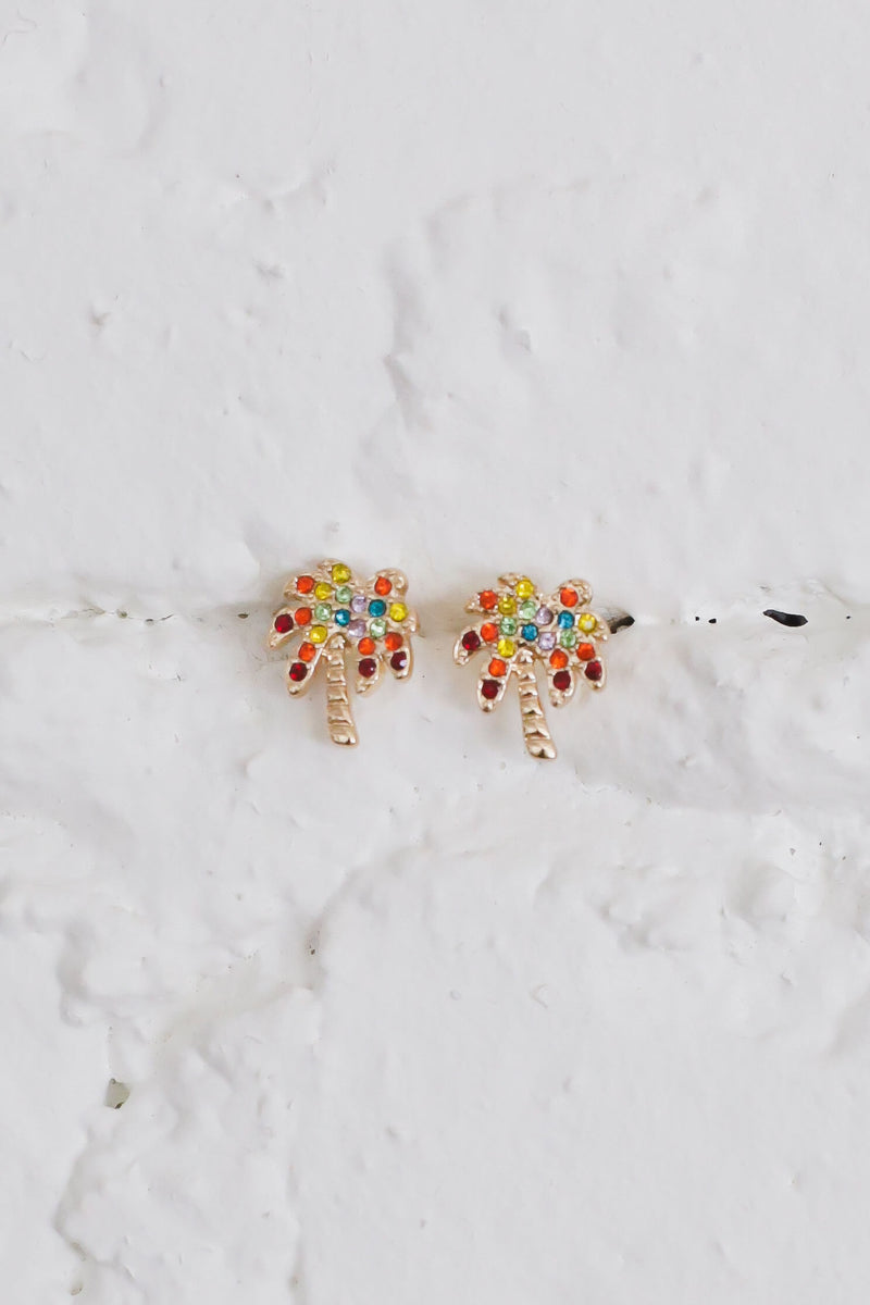 Rainbow Palm Tree STud EArrings
