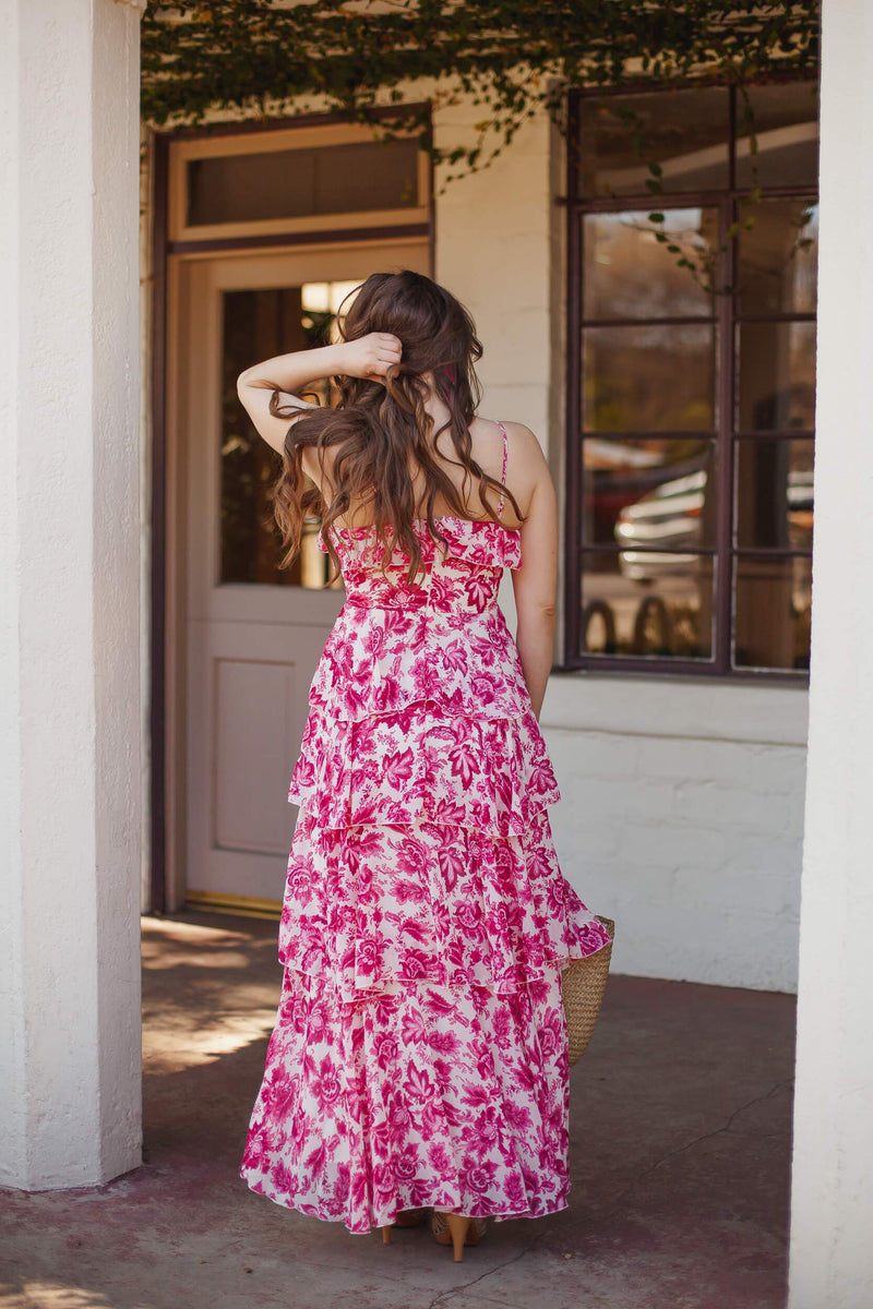 Pink floral tiered maxi