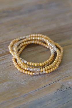 golden beaded bracelet set