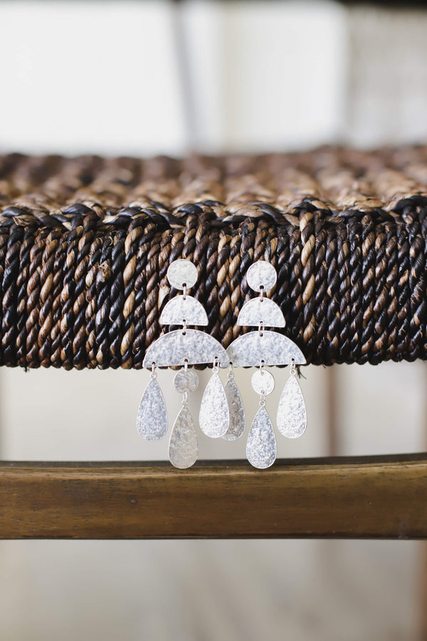Silver hammered statement earrings