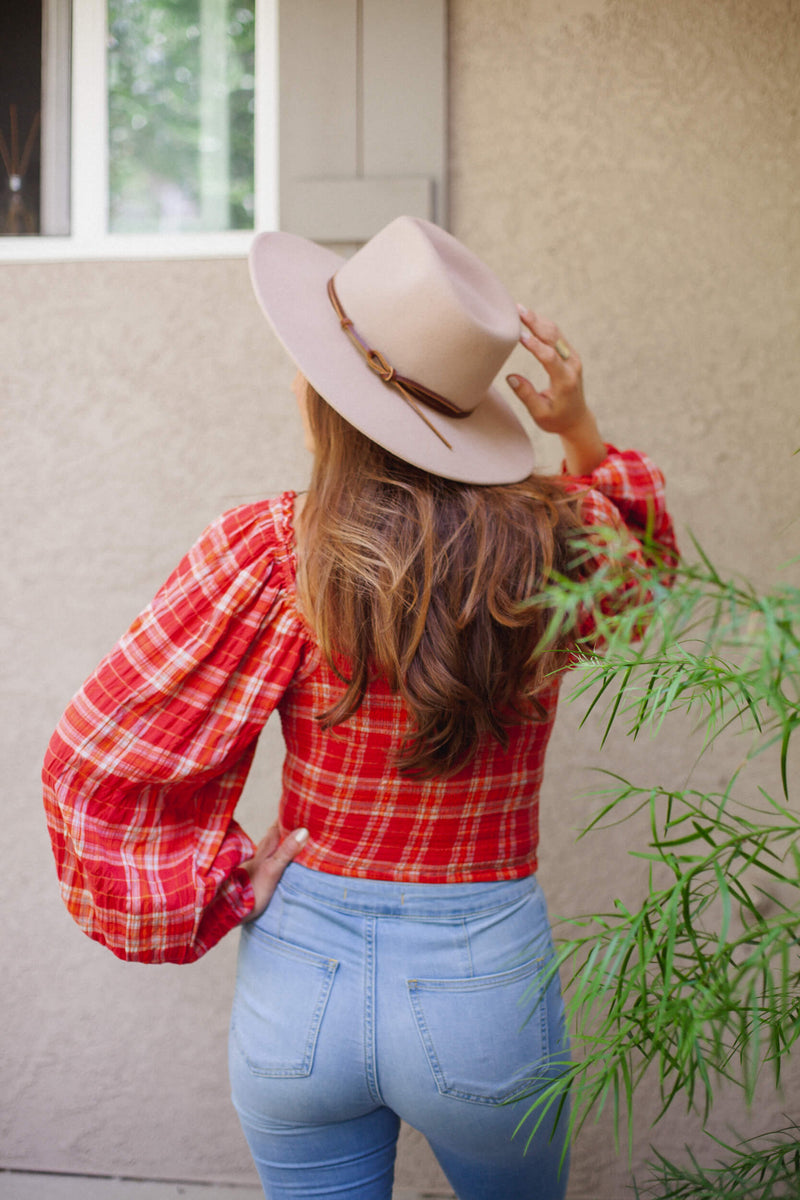 Free People Cherry Madrass Plaid Top