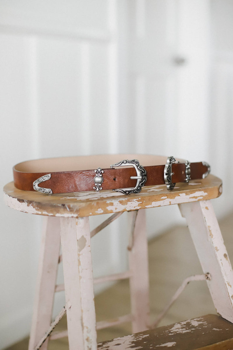 brown vegan leather double buckle belt