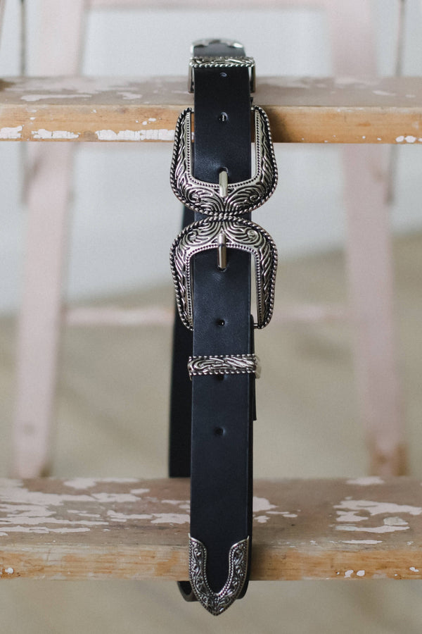 black vegan leather double buckle belt