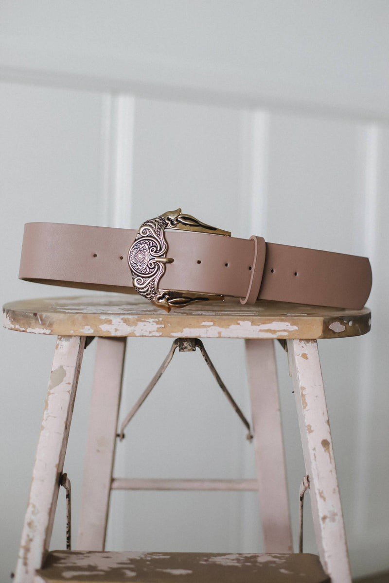 taupe vegan leather belt