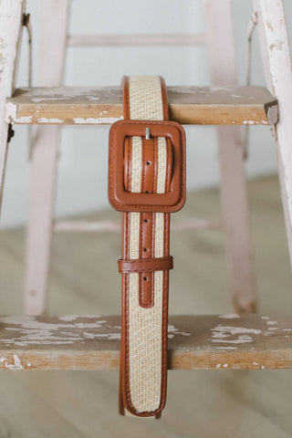 vegan leather and woven rattan belt