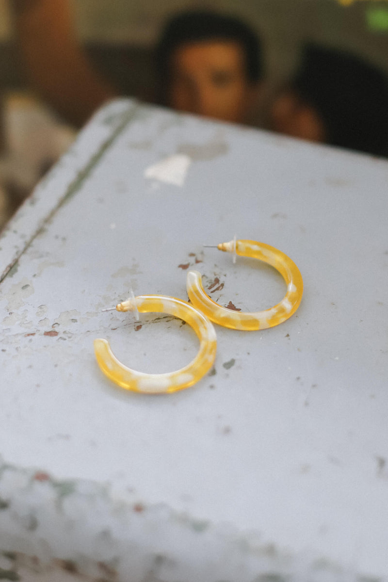 Yellow acetate hoop earrings