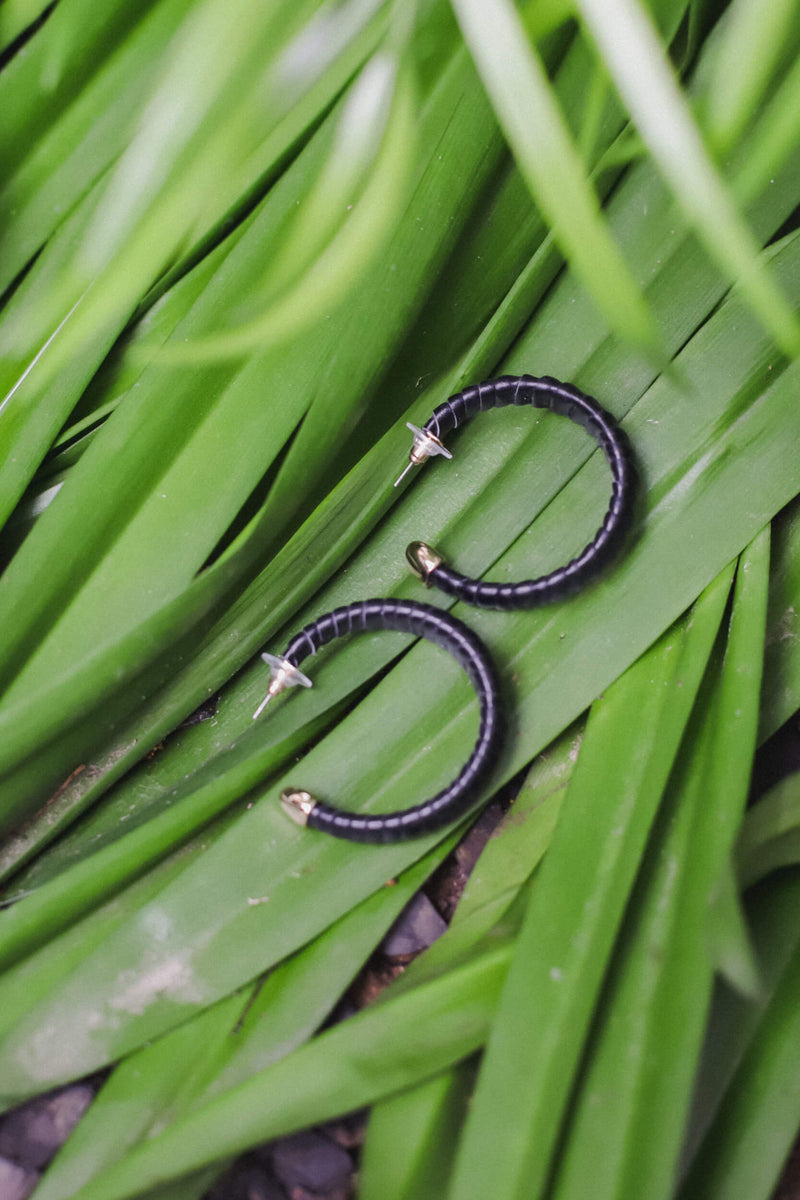 vegan leather wrapped hoop earrings