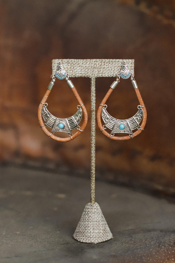 Leather Silver Turquoise drop earrings