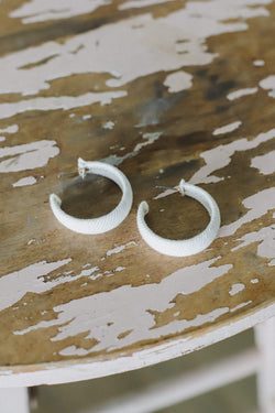 white canvas wrapped hoop earrings
